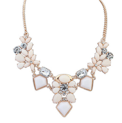 Colorful Cute Charm Gem Flower Choker Necklaces & Pendants