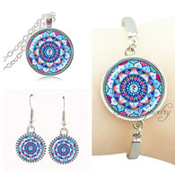 Blue mandala flower necklace earring set indian mandala om jewelry set