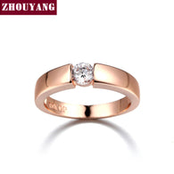 4.5mm CZ Wedding Ring Rose Gold & White Gold Plated Classical Finger Ring