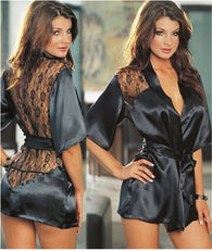 BABY DOLL Hot Sexy Lingerie Plus Size Satin Lace Black Kimono Intimate Sleepwear Robe Sexy Night Gown Women Sexy Erotic Underwear