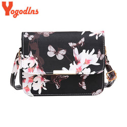 Luxury  Design Small Satchel Women bag Flower Butterfly Printed PU Leather cross body bag