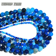 AAA+ Blue Stripe Onyx Agat  Natural Stone Beads For Jewelry Making Diy Bracelet Necklace 4/6/8/10/12 mm  Strand 15''