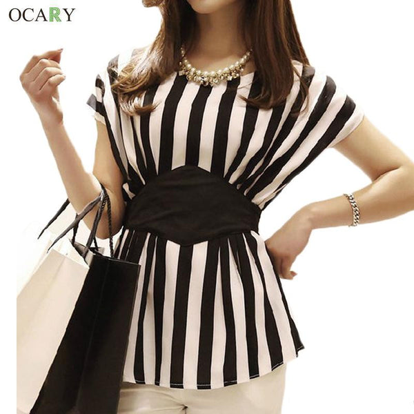 Striped Print Chiffon Women Blouses Casual Tops For Women Blouse
