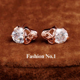 New Fashion Vintage Stud Earrings CZ Diamond 18K Gold Plated Skull Stud Earrings Free Shipping