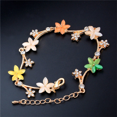 Adjustable 18K Gold Plated Multicolor Cute Flower Cat Eye Chain Bracelet