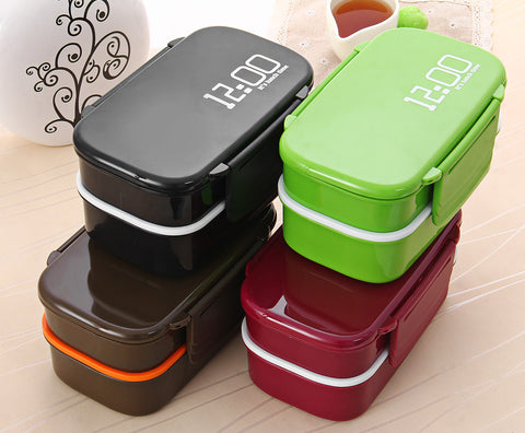 Two Lunch Box 2 Tier Microwave Safe BPA-Free All-in-One Stackable  Box