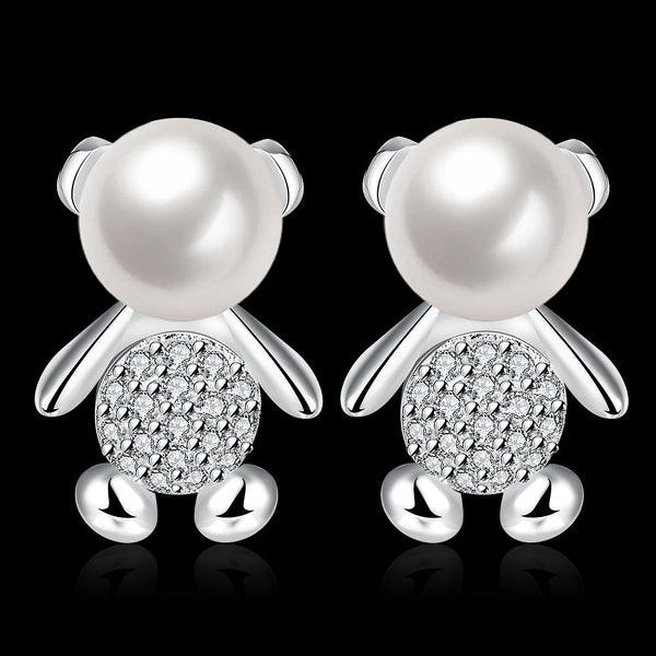 Austria Crystal With Fresh Water Pearl Woman Stud Earrings