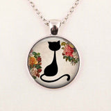 Art Glass Cabochon Necklace Cat Kitten Necklace Shabby Chic Cat Round Pendant