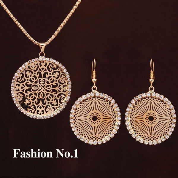 18K Gold Plated Crystal Round Pendant Necklace Earrings Wedding Jewelry Set