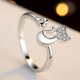Delicate Rose Gold Silver Tone Lovely Cat Shape Clear Crystal Inlaid Ring