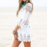 Beach Mini White Dress Elegant Half Sleeve  Lace Floral Crochet  Dress