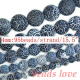 "Frost Spider Web Black Agates Round Beads For Jewelry Making 15.5"" Pick Size 4/6/8/10/12/14mm Making Bracelet -F00054"