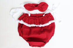 Belle Red Romper Set