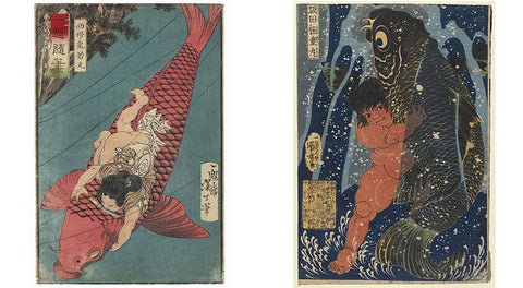 Painting of a baby wrestling with a Koi Carp