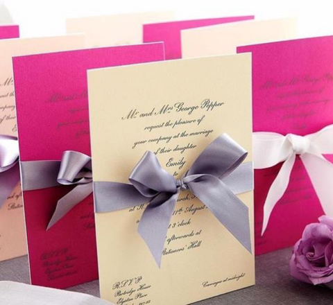 Hand bowed luxury wedding invitations engraved onto 700gsm thick card