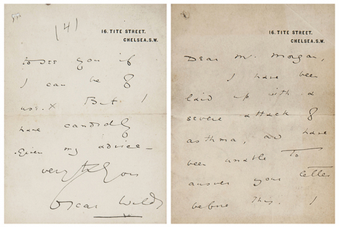 Wilde's personalised writing paper, which shows his address printed in the top right