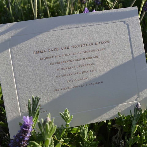A Copper Engraved Example of Wedding Invitation wording where the bride and groom are hosting