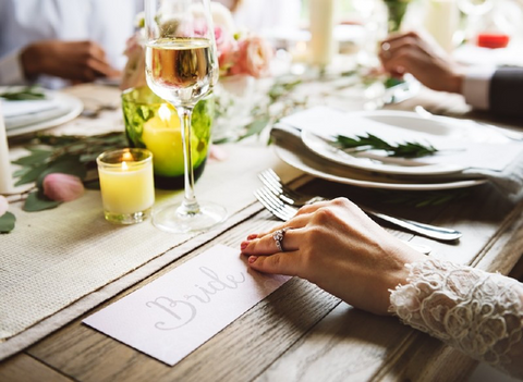 Wedding Table Setting with glasses and plates