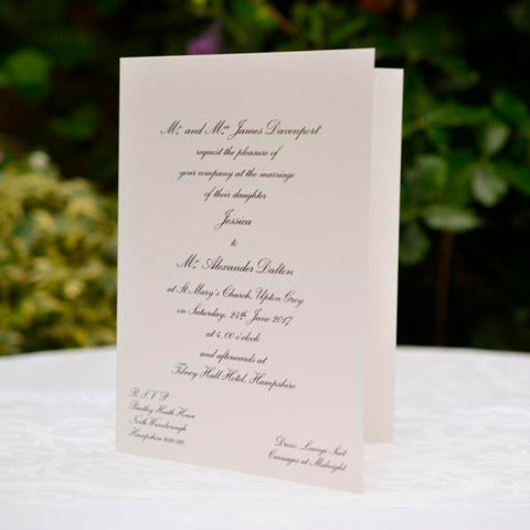 The Tilney Smooth Folded wedding invitation cards use a smooth off white 400gsm stock