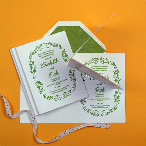 Letterpressed example of wedding invitation wording when both sets of parents are hosting