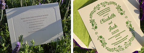 Engraved and letterpressed wedding invitations