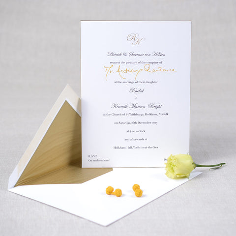 Traditional Wedding Invitation with engraved traditional wording