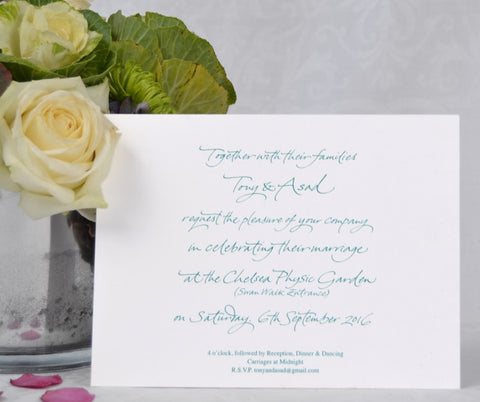 the Portland wedding invitation showing calligraphy printed text for a same sex wedding