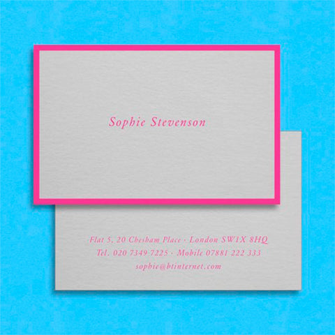the Prideaux visiting card uses a hot pink text and border on a light grey card stock