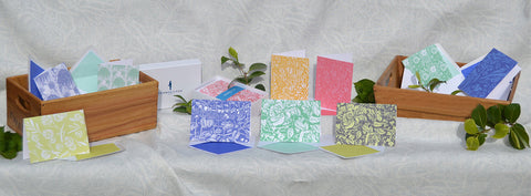 A collection of floral pattern greeting cards designed by Susie Hetherington