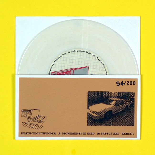 "Print 7 inch sleeve (back) /  Death-Tech Thunder: Battle Axe / Movements In Acid Battle Axe ‎(7"", MiniAlbum) on Kerm Records"