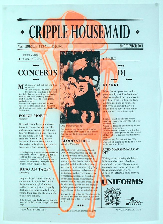 Design/print - A2 Cripple Housemaid event poster - Nest bxl - In collab with Joris De Rycke