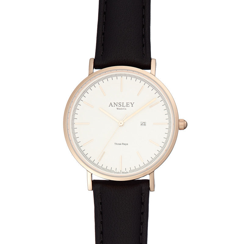 Ansley Women's Rose Gold Watch with Black Leather Strap