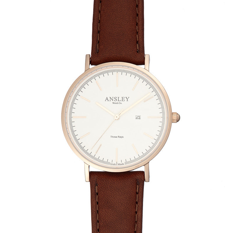 Ansley Women's Rose Gold Watch with Chocolate Brown Leather Strap