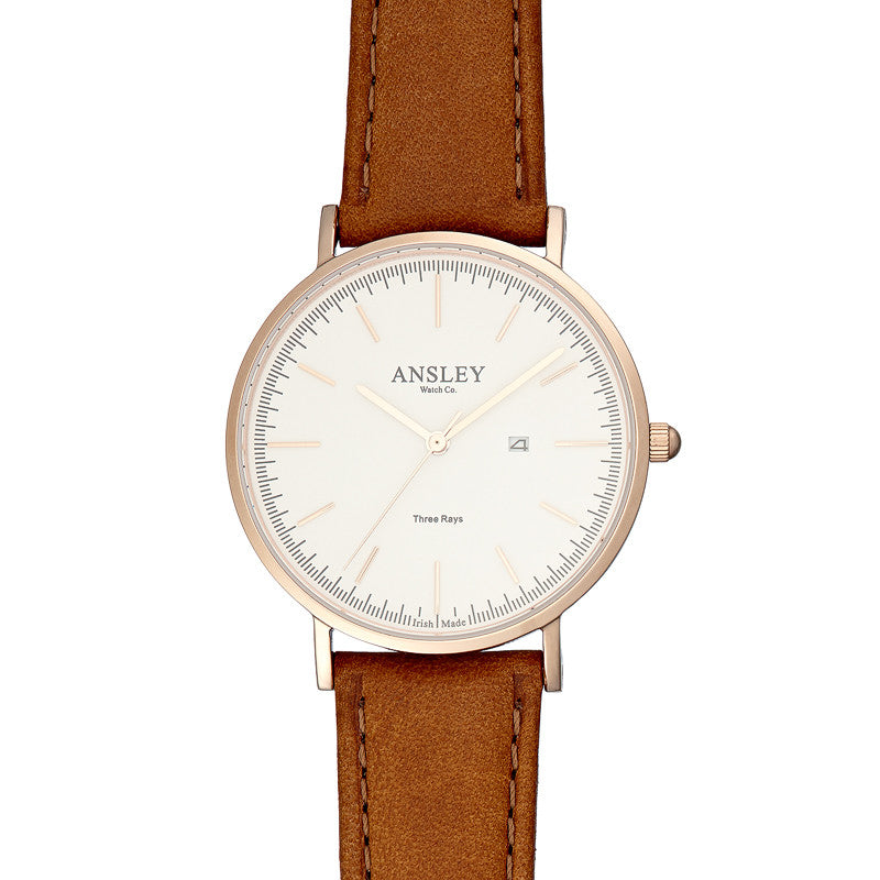 Ansley Women's Rose Gold Watch with Tan leather Strap