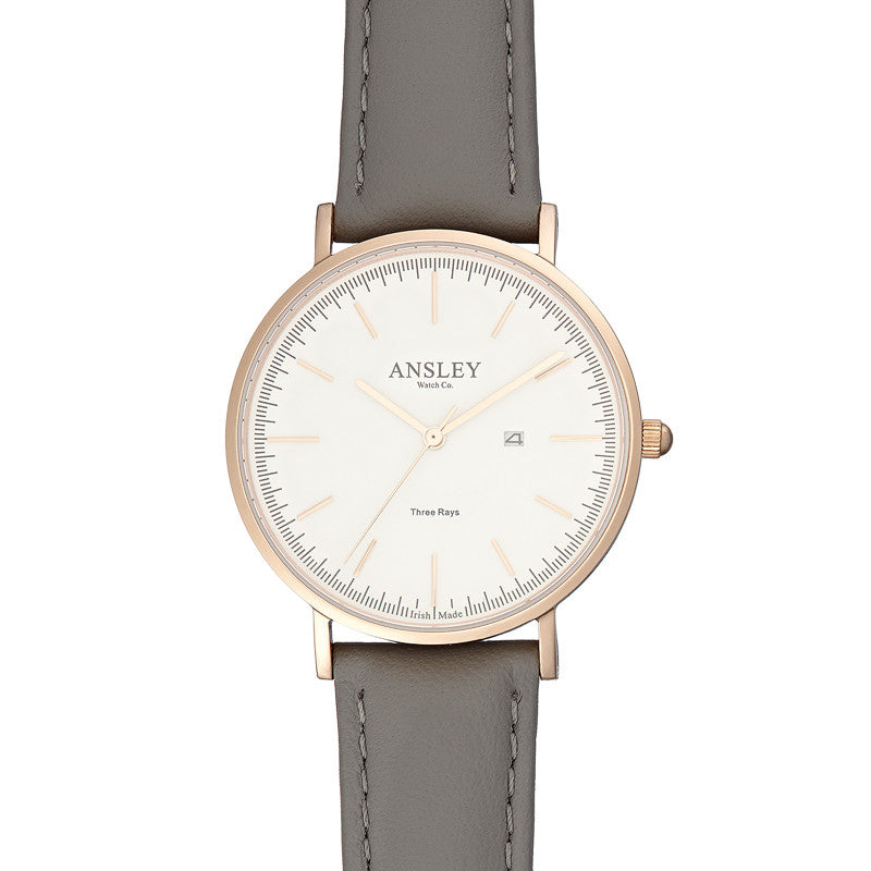 Ansley Women's Rose Gold Watch with Grey Leather Strap