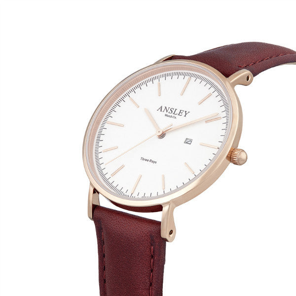 Ansley Women's Rose Gold Watch with Wine Leather Strap