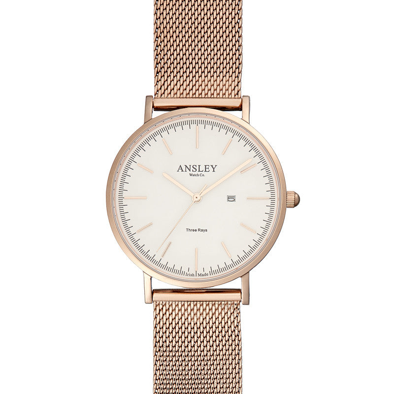 Ansley Women's Rose Gold Watch with Rose Gold Mesh Strap