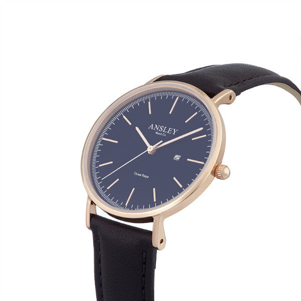 Ansley Women's Rose Gold Case with Navy Dial Watch & Black Starp