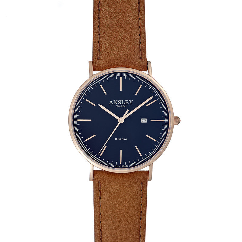 Ansley Women's Rose Gold Case with Navy Dial Watch & Tan Starp