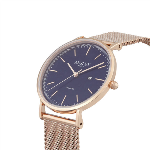 Ansley Women's Rose Gold Case with Navy Dial Watch & Rose Gold Mesh Strap