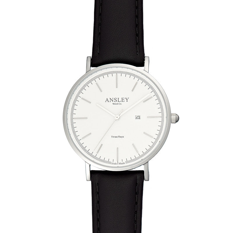 Ansley Women's Silver Case Watch with Black Leather Strap