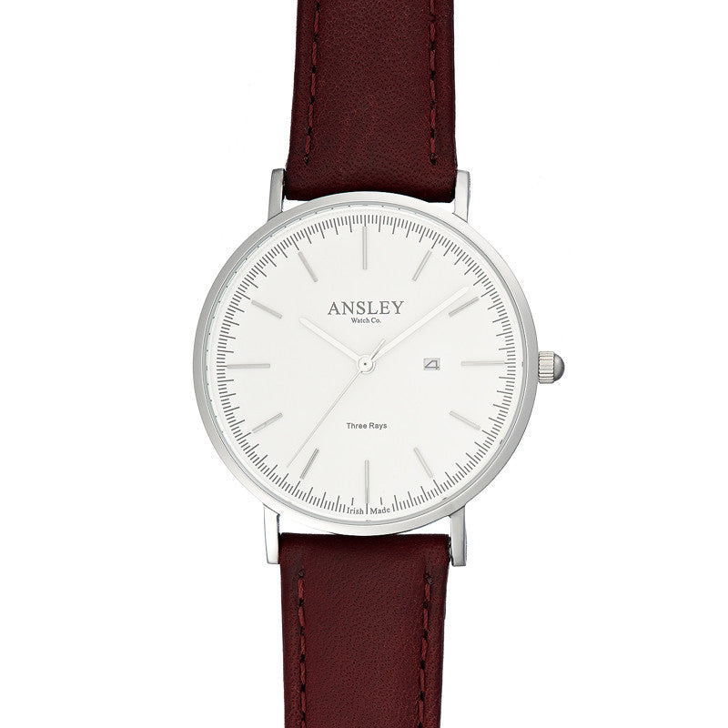 Ansley Women's Silver Case Watch with Wine Leather Strap