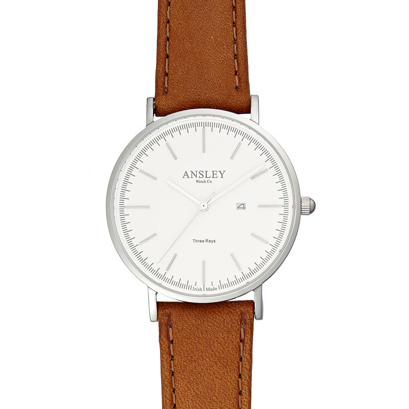 Ansley Women's Silver Case Watch with Tan Leather Strap