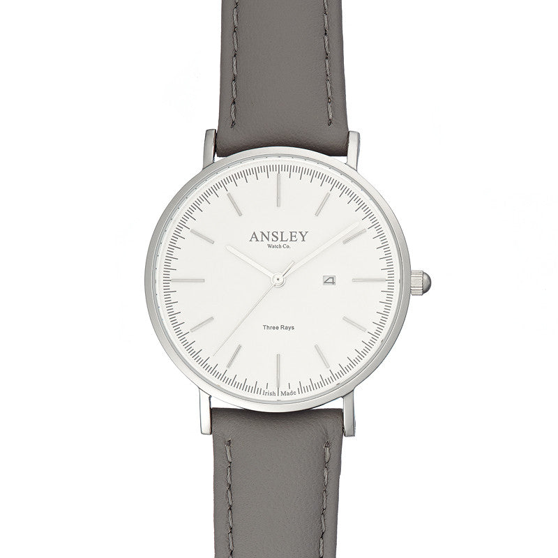 Ansley Women's Silver Case Watch with Grey Leather Strap
