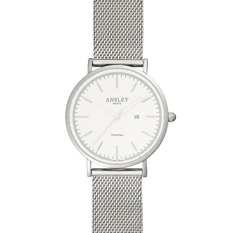 Ansley Women's Silver Case Watch with Silver Mesh Strap