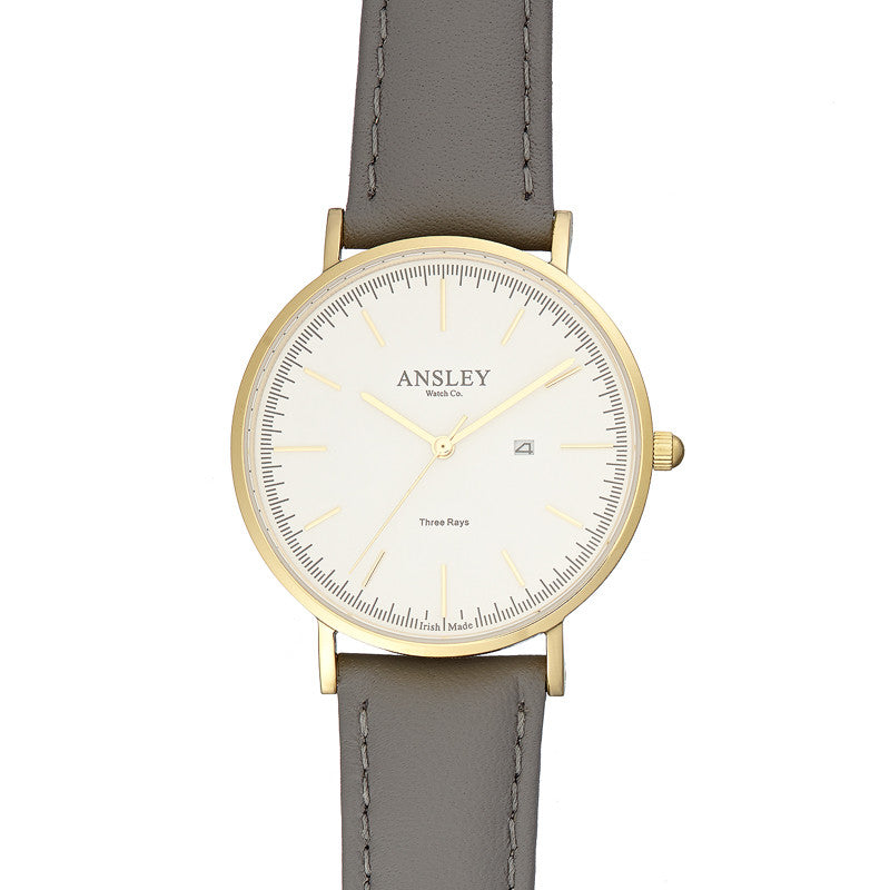 Ansley Women's Gold Case Watch with Grey Leather Strap