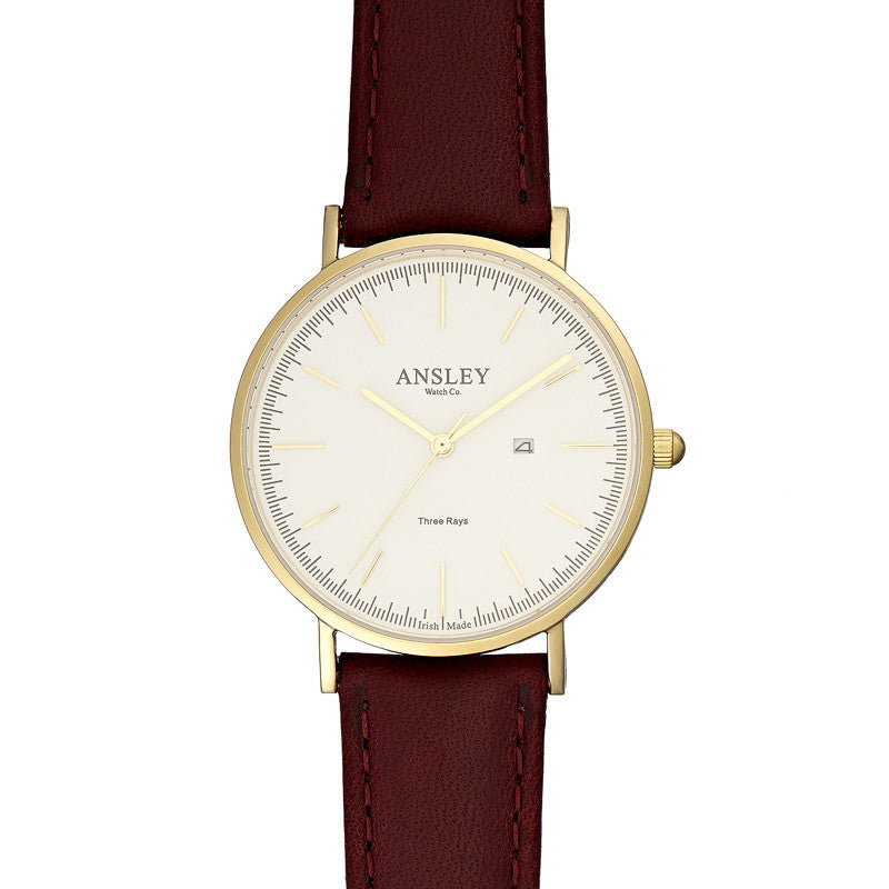Ansley Women's Gold Case Watch with Wine Leather Strap
