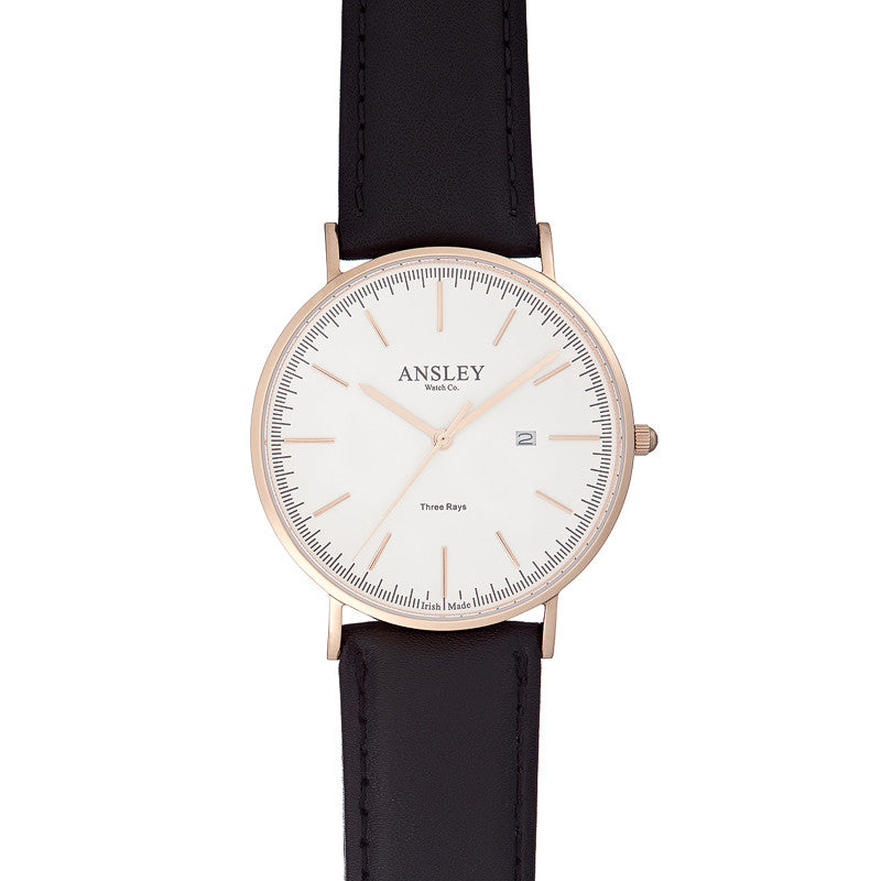 Ansley Men's Rose Gold Watch with Black Leather Strap