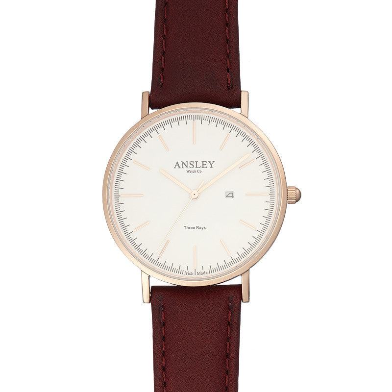 Ansley Men's Rose Gold Watch with Chocolate Brown Leather Strap
