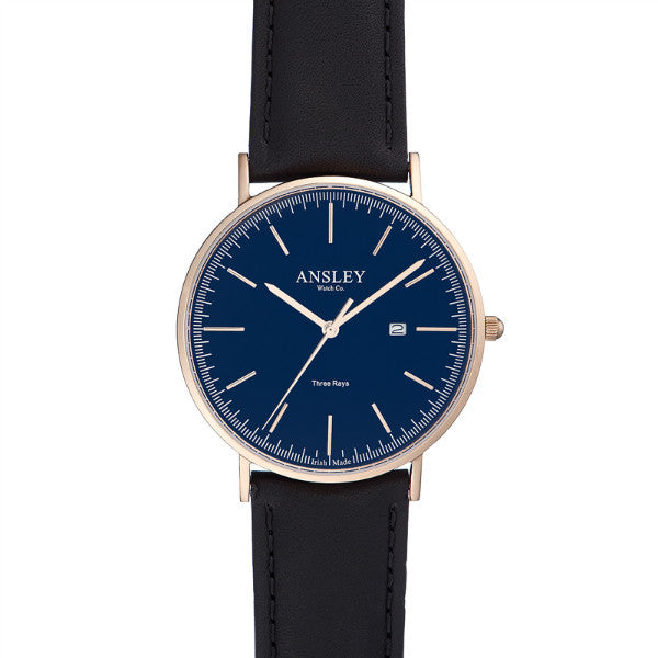 Ansley Men's Rose Gold & Navy Dial Watch with Black Leather Strap